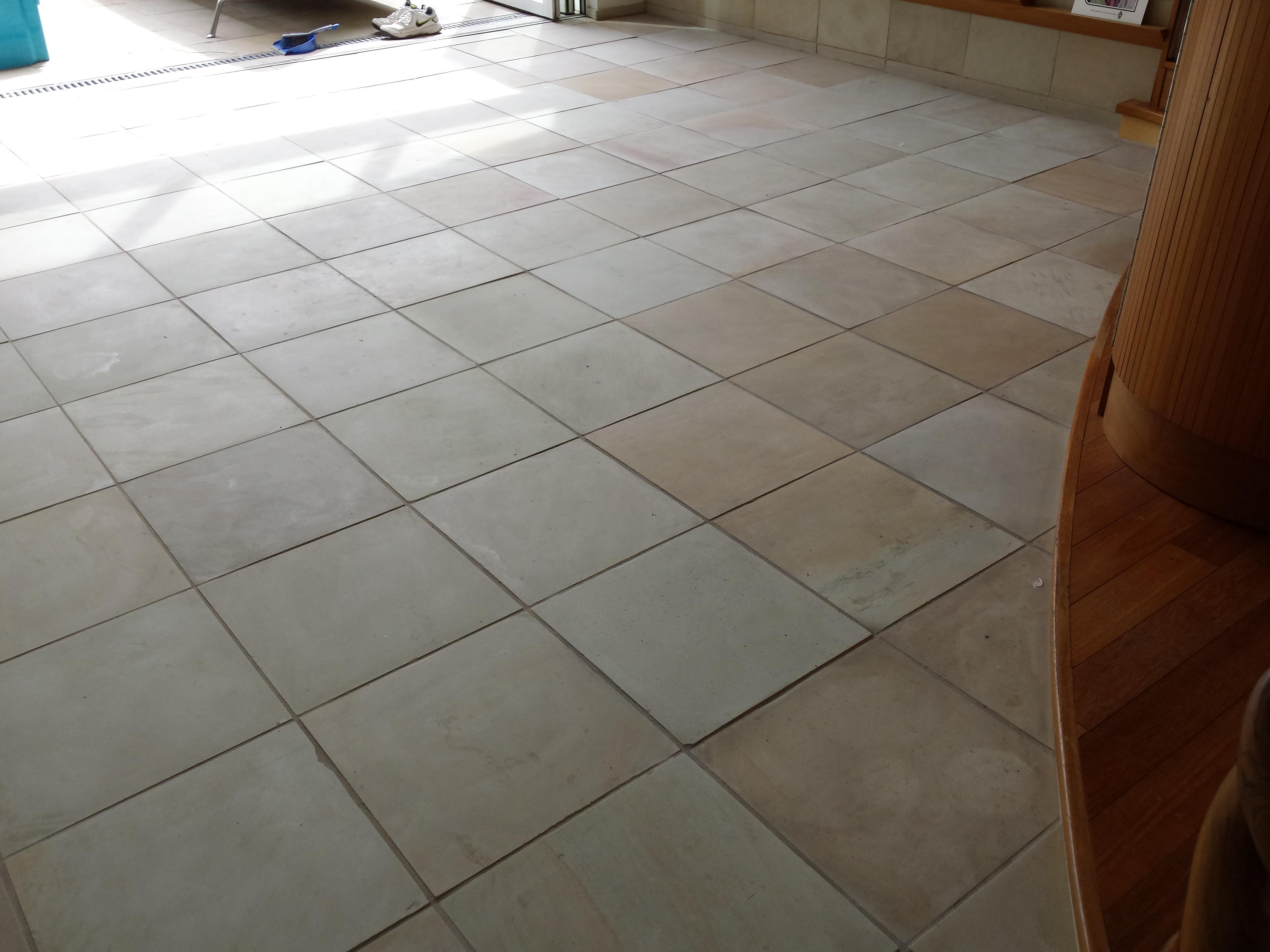 Asphalt tile floor